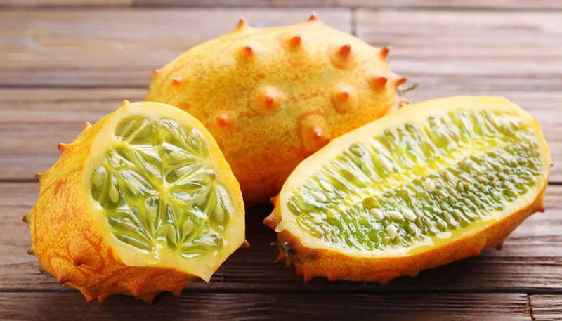Horned Melon fruit that is not round