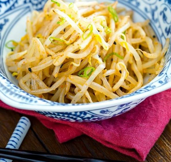 Spicy Bean Sprout Salad as Asian side dishes